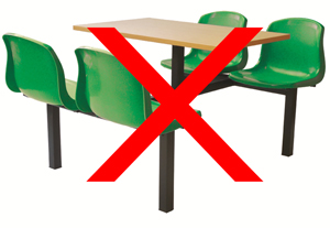 Plastic canteen table and chairs