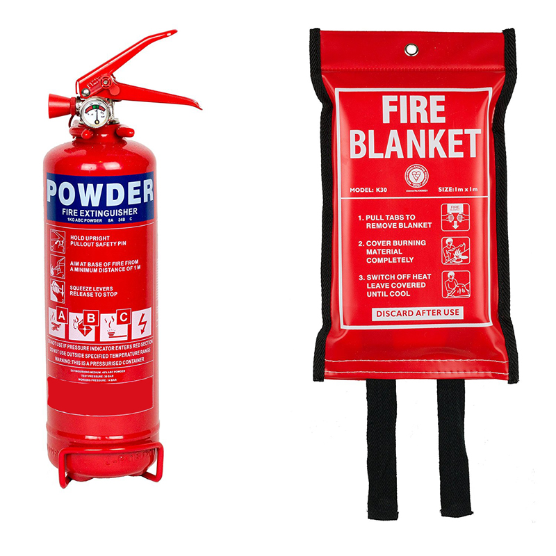 fire extinguisher and blanket